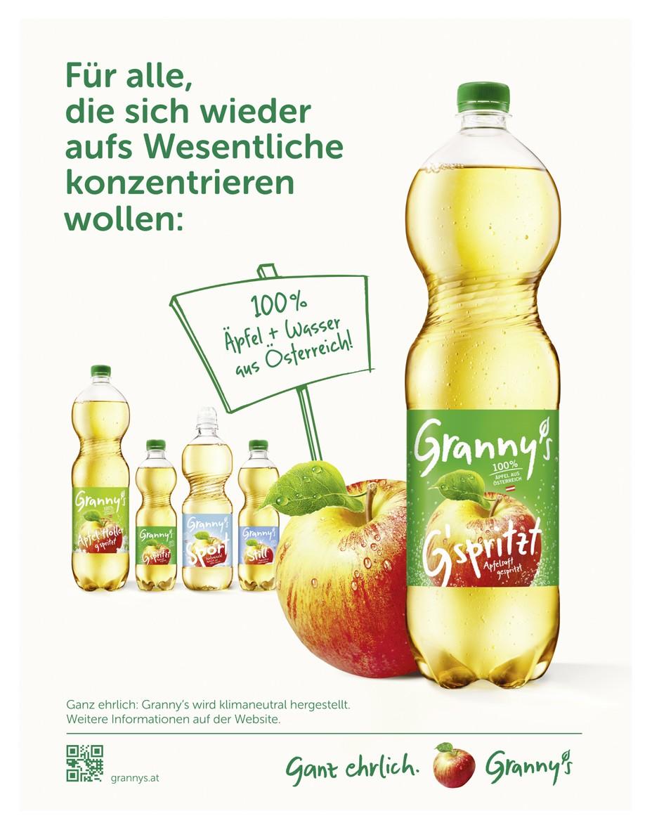 Werbung - Granny\'s Apfelsaft g\'spritzt - grannys.at